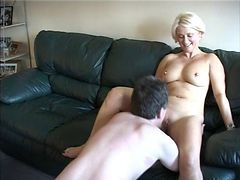 British, Milf, Threesome, Blond milf gangbang