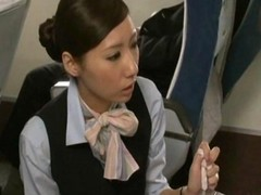 Asian, Handjob, Japanese, Stewardess, Cum twice handjob