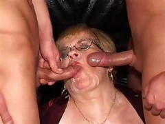 Granny, German, Threesome, Older hairy cougar lesbians and grannys
