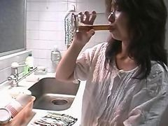 Asian, Gangbang, Japanese, Kitchen, Japanese pantyhose footjob