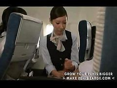 Asian, Handjob, Japanese, Stewardess, Slow handjob
