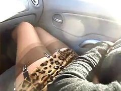 Car, Stockings, Watched while wanking in car