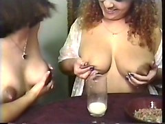 Milk, Maid, Milf, Big Tits, Drinking milk tits from bigger