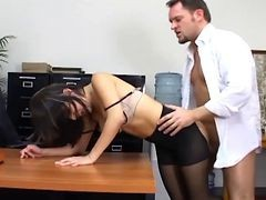 Bus, Panties, Office, Pantyhose, Office spy
