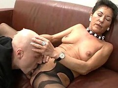 Granny, Hairy, Black, German, Threesome toys and dick