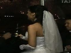 Bus, Bride, Wedding, Bride in limo