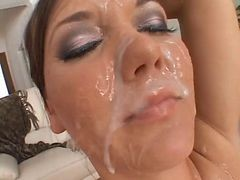 Facial, Cumshot, Amateur dominica gets facial after butt fuck