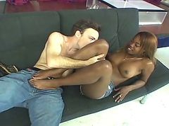Ebony, Footjob, Pantyhose footjob