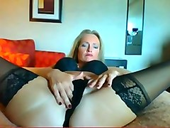 Blonde, Housewife, Wife, Flexible, First lesbian dildo