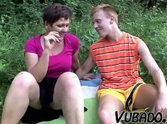 Teen, Milf, Outdoor, Milf seduces boy