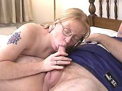 Blonde, Glasses, Blowjob, Ass, Young girl blowjobs