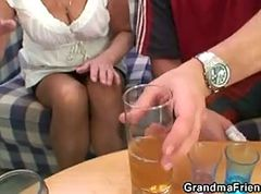 Granny, Party, Threesome, Wife first threesome