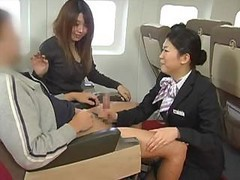 Asian, Handjob, Japanese, Stewardess, Car handjob