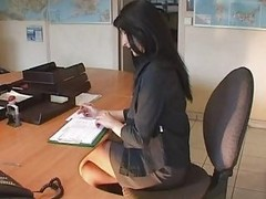 Amateur, French, Office, Fisting, French stockings
