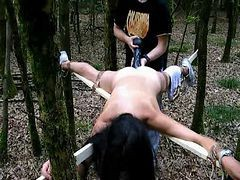 Tied, Dildo, Outdoor, Young girl tied her legs and spermed puss